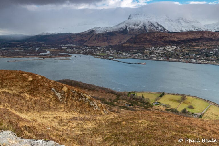 Looking down a steep hill toward Fort William